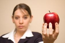 Woman Offering Apple Stock Images