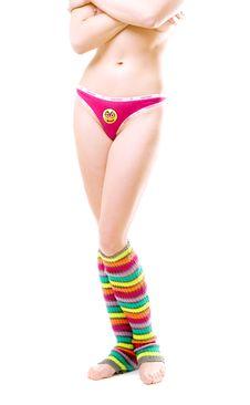 Sporty Girl In Colorful Stripy Leggings And Bikini Stock Photo