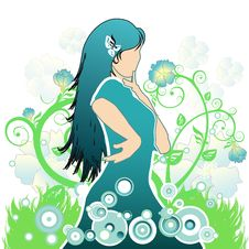 Free Girl On A Flower Background Royalty Free Stock Photography - 1946617