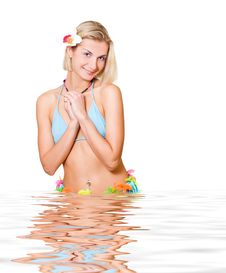 Free Sexy Blond Girl In Rendered Water Stock Photography - 1948152