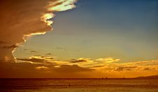 Sunset Drama - Pacific Ocean Stock Photo