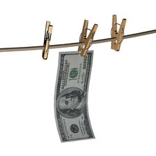 Free 3d Dollar Is Hanging On A Wooden Clothespin Stock Photo - 19400080