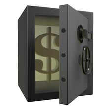 Free 3d Safe Deposit Box With Dollar Royalty Free Stock Photography - 19400447