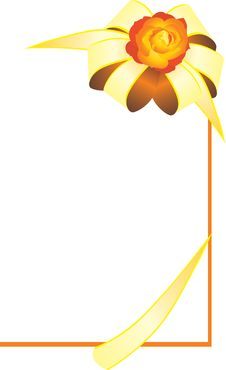 Free Golden Bow With Rose. Card Stock Image - 19401471