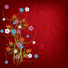 Abstract Grunge Illustration With Flowers Stock Photos