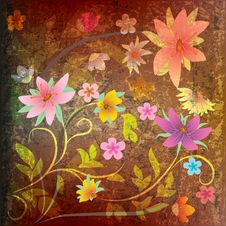 Abstract Grunge Floral Background With Flowers Royalty Free Stock Image