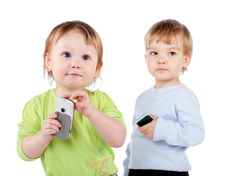 Free Isolated Surprised Little Girl And Boy The Phone Royalty Free Stock Photos - 19402708
