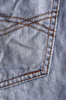 Free Blue Jeans Fabric With Seam. Texture Stock Photo - 19402940