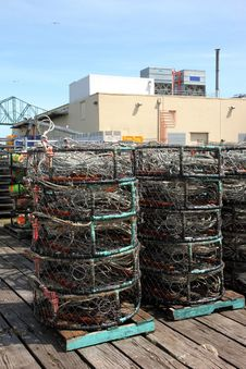 Crab Nets Stacked, Port Of Astoria OR. Stock Photos