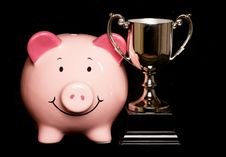 Free Piggybank With Trophy Royalty Free Stock Photography - 19403477