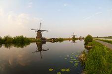 Windmills In Kinderdijk, Netherlands Stock Images