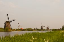 Windmills In Kinderdijk, Netherlands Royalty Free Stock Photo