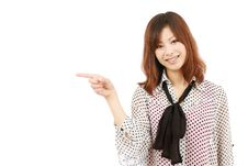 Young Business Woman Pointing Royalty Free Stock Image
