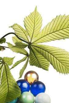 Leaf Of Horsechestnut And Glass Balls Royalty Free Stock Image