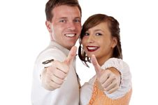 Free Bavarian Man And Woman Showing Thumbs Up Stock Photography - 19407552