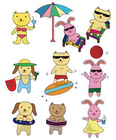 Summer Animal Set Icon Stock Photos