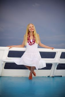 Free Beautiful Blonde Girl On The Ship Stock Images - 19407674