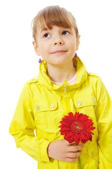 Little Girl Holding Red Flower