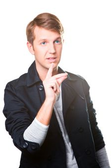 Free Gesticulating Young Man Royalty Free Stock Photography - 19407937