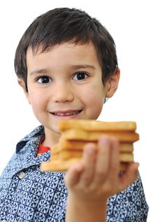 Free Kid With Bread Isolated Royalty Free Stock Images - 19408099
