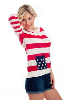 Young Woman Wearing The Patriotic Clothes Stock Photography
