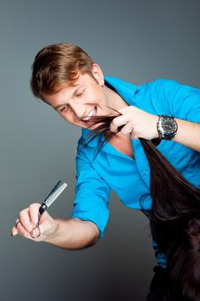 Free Man Hairdresser Working With Scissors Stock Photos - 19408103