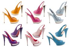 Free Women S Shoes On A White Background. Royalty Free Stock Photo - 19408225