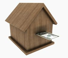 Free A Small Wooden House Stands On The Banknotes Of Th Stock Images - 19409074