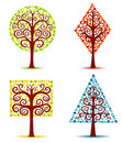Free Four Geometrical Trees. Stock Photography - 19413042