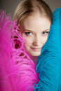 Free Beautiful Girl With Colorful Feathers Stock Images - 19418504