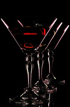 Free Three Martini Glasses Stock Photo - 19410780