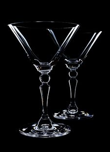 Free Two Empty Martini Glasses Royalty Free Stock Image - 19410846