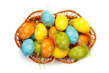 Free Easter Eggs In Basket Isolated On White. Top View Stock Images - 19412254