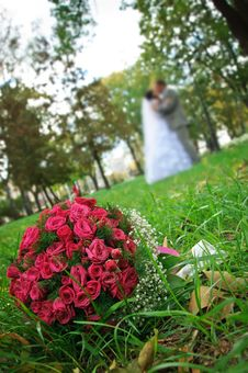 Free Wedding Bouquet Lying On A Green Grass Stock Images - 19413014
