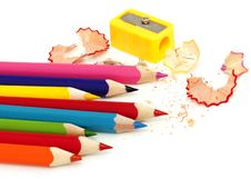 Free Color Pencil And Sharpener Stock Photo - 19414070