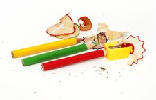 Color Pencil,sharpener And Wood Shavings Royalty Free Stock Photo