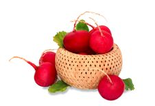 Radishes In The Basket Stock Images