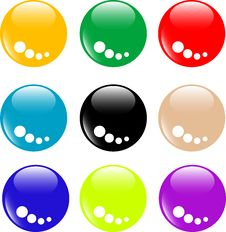 Collection Of Round Glossy Internet Buttons Royalty Free Stock Photography