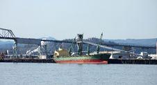 Long Cargo Ship In Longview Washington State. Stock Photography