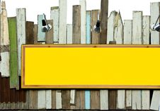 Free Yellow Signboard On Old Wood Wall With Sport Light Royalty Free Stock Photo - 19414745