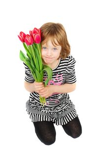 Free Littl Girl With Tulips. Royalty Free Stock Photos - 19415028