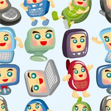 Cartoon Computer And Phone Set Seamless Pattern Royalty Free Stock Images