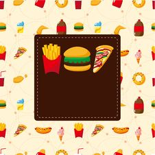 Free Cartoon Fast Food Card Stock Photography - 19415062