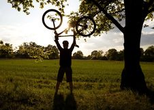 Free Cycling Silhouette And Success Royalty Free Stock Images - 19415179