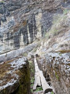 Free Suspension Bridge In Langtang Stock Photo - 19416280