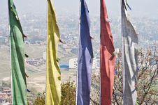 Kathmandu Over Prayer Flags. Stock Photography