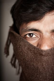 Free Indian Man Covered Face By Woolen Scarf Stock Photo - 19417660