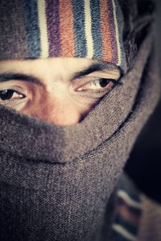 Free Indian Man Covered Face By Woolen Scarf Stock Photo - 19417680