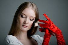 Free Girl In Gloves With Brush Stock Photo - 19418090