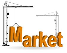 Free The Crane Collects A Word Market Royalty Free Stock Images - 19418119